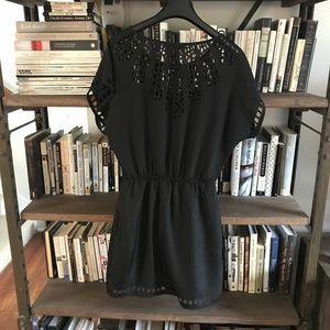 Lush Geometric Laser Cut Lace Black Mini Dress S